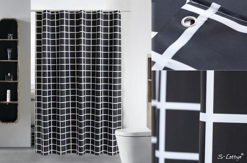 black grid shower curtains