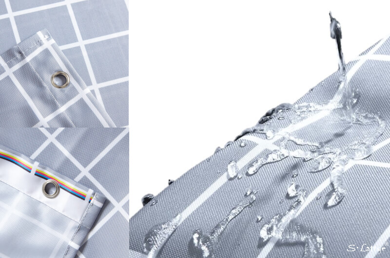 Gray Grid Shower Curtain
