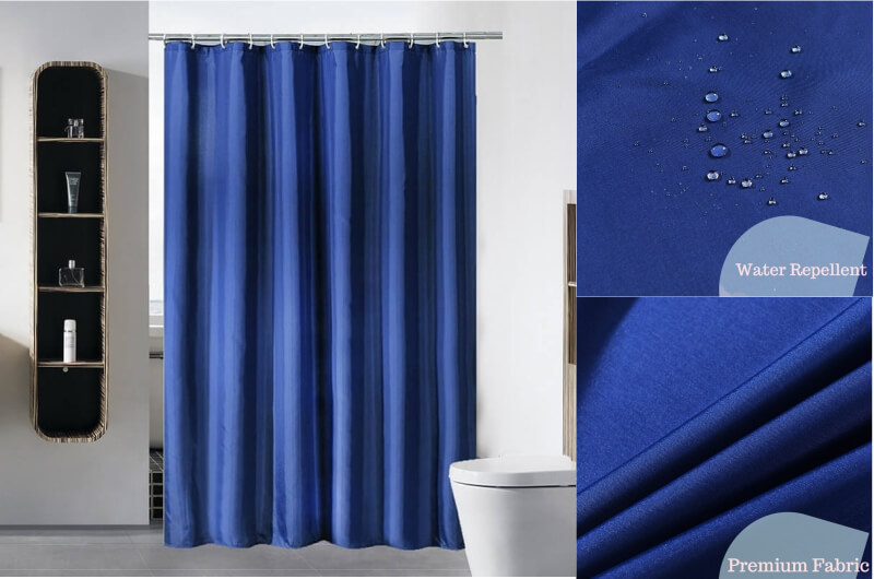 Navy blue shower curtain
