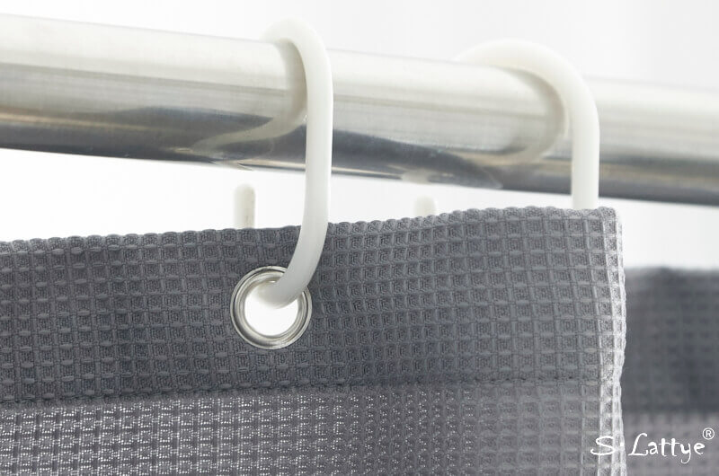 gray waffle shower curtain hook