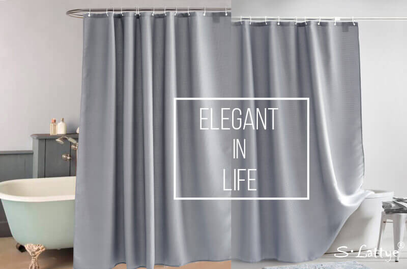 gray waffle shower curtain in life
