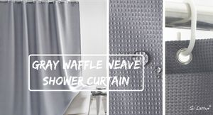 gray waffle shower curtain